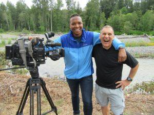 Craig with cameraman on Q13