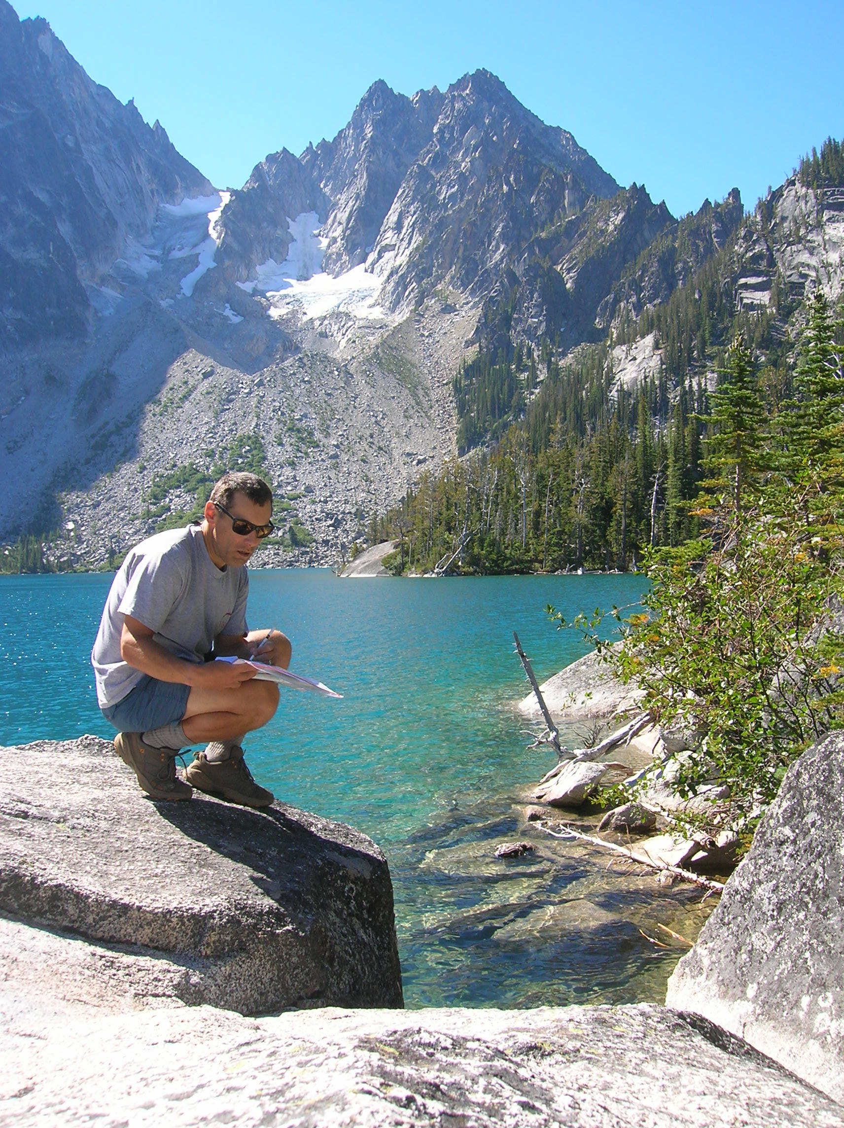 Craig researching the Central Cascades Book at Colchuck Lake, WA