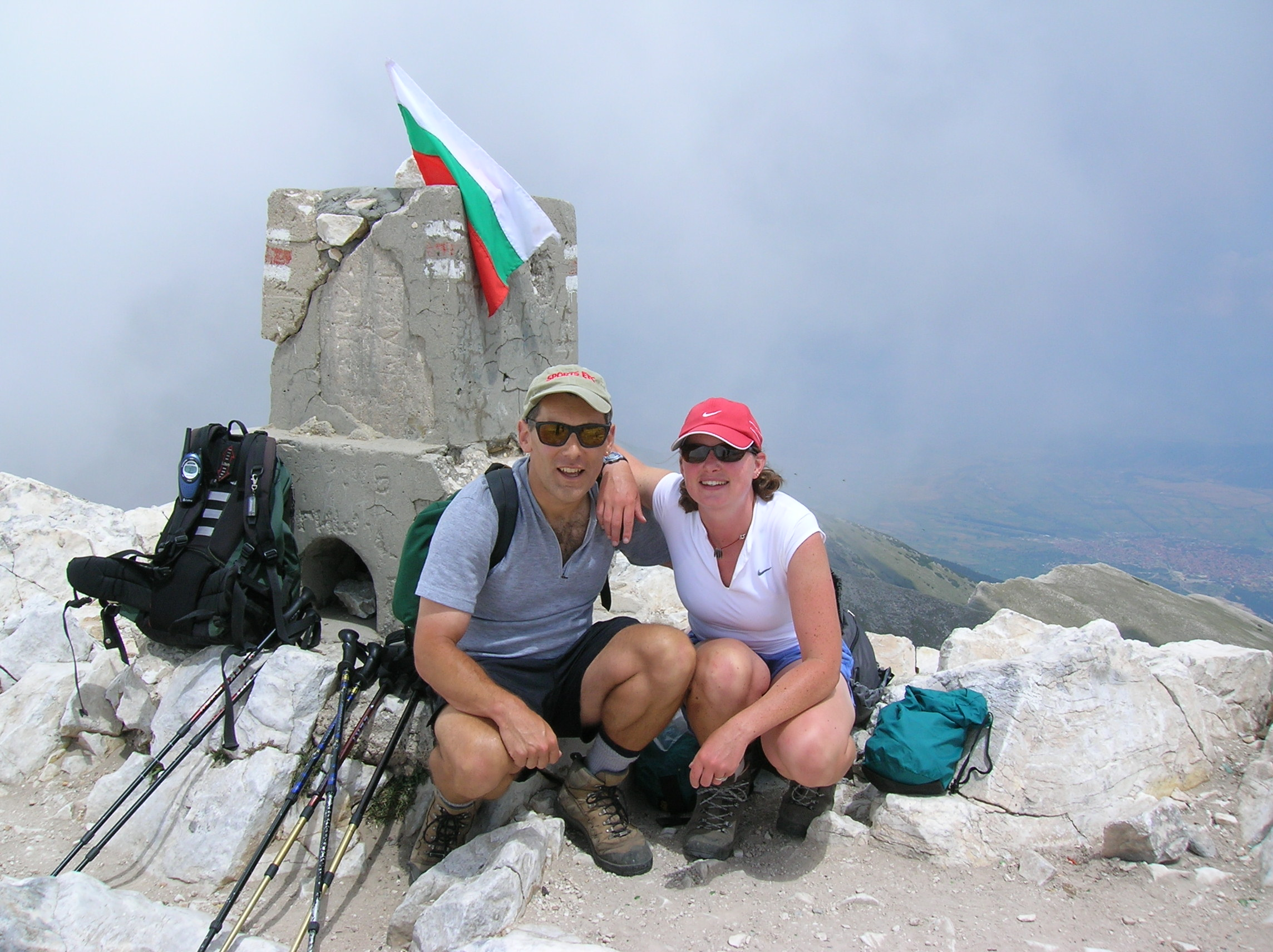Craig and Heather on Vihren in the Pirins, the 2nd Highest peak in Bulgaria